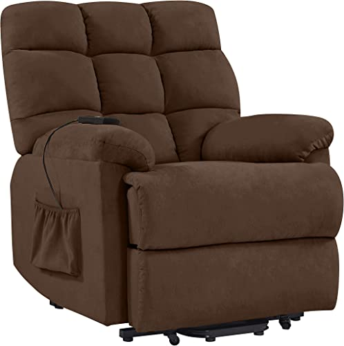 Domesis Cheraw – Microfiber Power Recline and Lift Chair, Brown