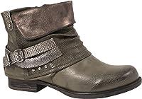 Elara Mujer Biker Boots | Metallic Prints Hebillas | Aspecto de Piel Remaches Botines | Forrado