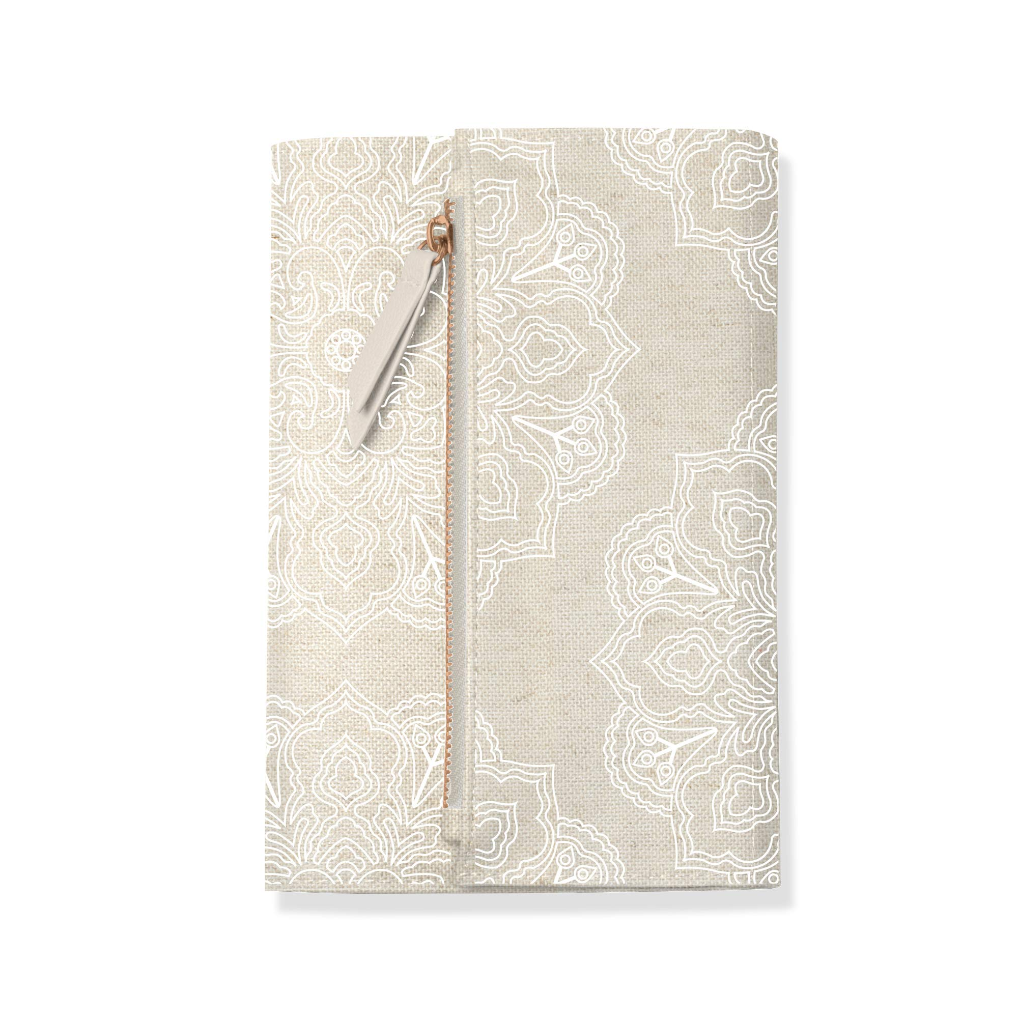 Fringe Canvas Clutch Paperback Journal Encased in Soft Cover with Zippered Pouch Flap Closure, 240 Lined Sheets, 6 x 8.5 Inches, Mandala (135201)