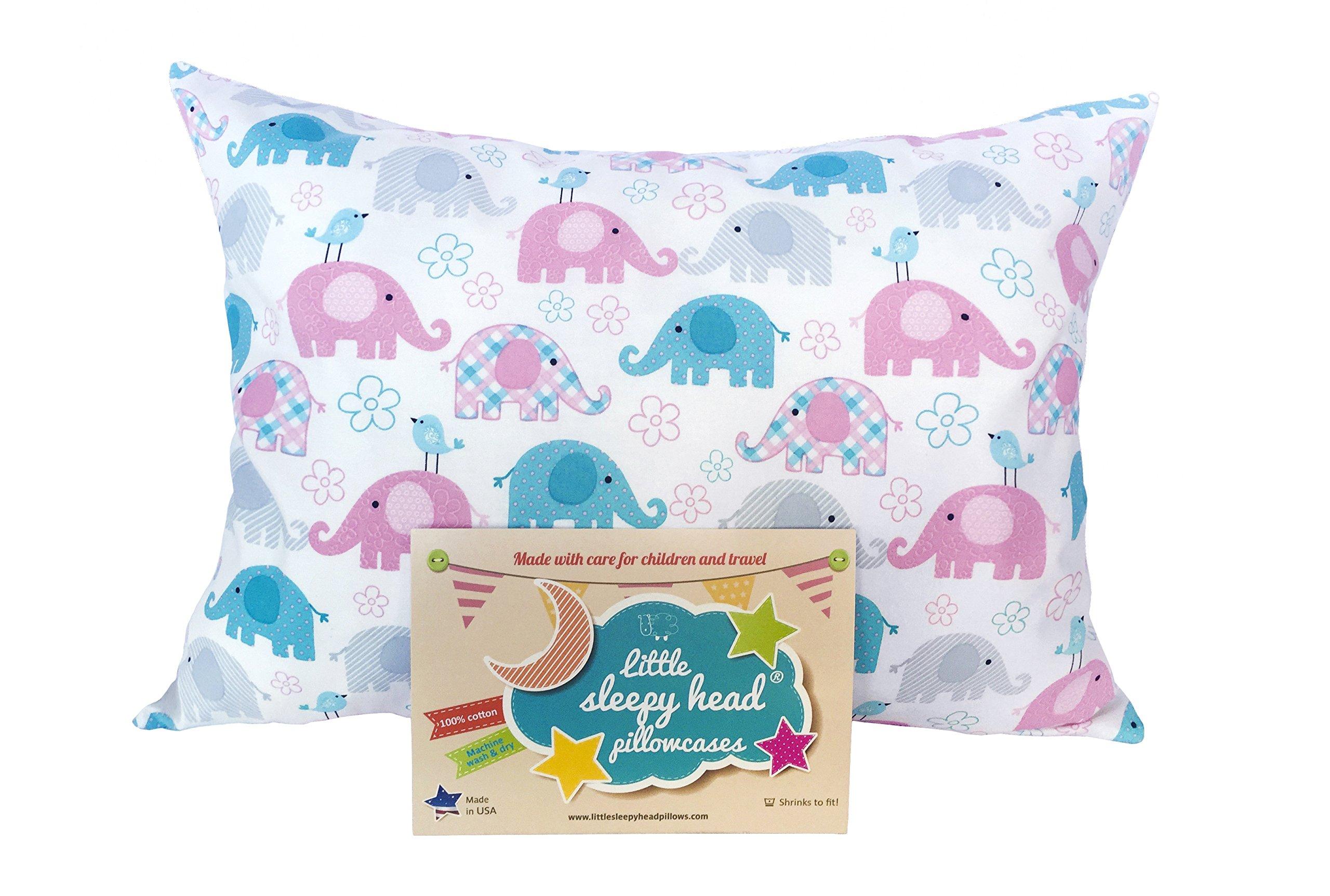 Little Sleepy Head Toddler Pillowcase - Elephants, 13 x 18