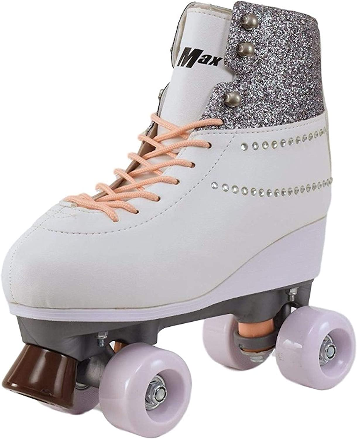 Roller Skates for Girls Size 3 White Purple for Kids Quad Derby Light with Adjustable Lace System Outdoor rollerskates Girl 4-Wheels Blades Indoor Classic Youth Toddler ABEC-7 34