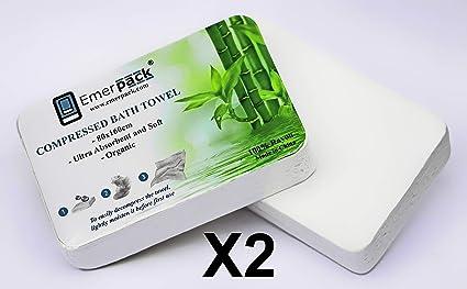 2X Toalla de Baño Comprimida de Emergencia Grande 80x160 cm XL Desechable/Kit Toallas para