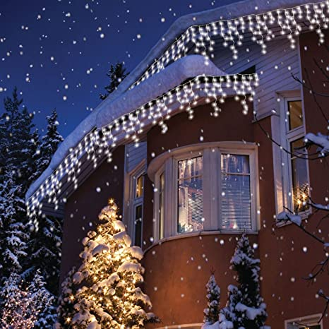 Snowing Christmas Lights.Sentik 240 Snowing Icicle Ultra Bright Led Lights White