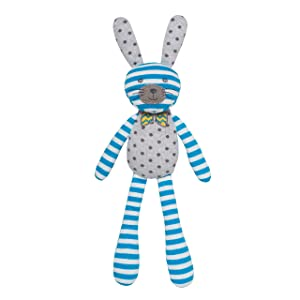 Apple Park Organic Farm Buddies - Spring Bunny Blue Stripe with White Polka Dots Plush Baby Toy for Newborns, Infants, Toddlers - Hypoallergenic, 100% Organic Cotton