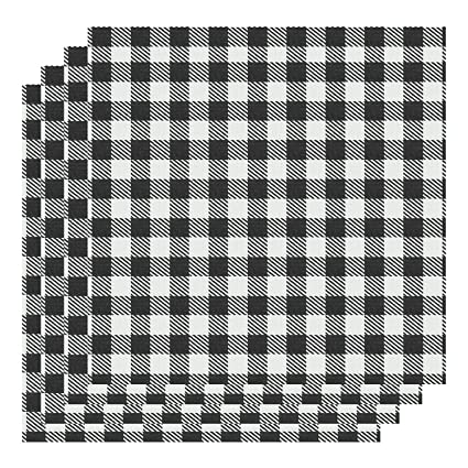 Amazoncom Aneco 12 X 12 Inch Buffalo Plaid 4 Sheet White Black