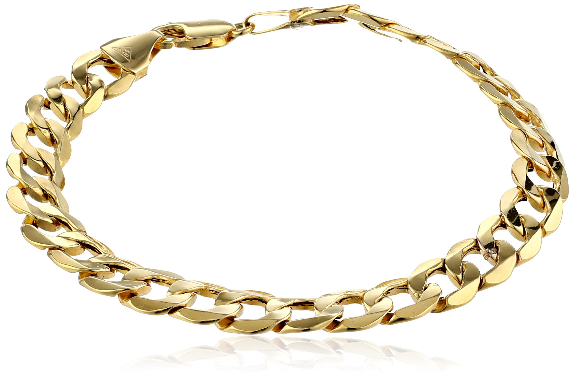 Men's 10k Yellow Gold 8.8mm Curb Link Bracelet, 9''