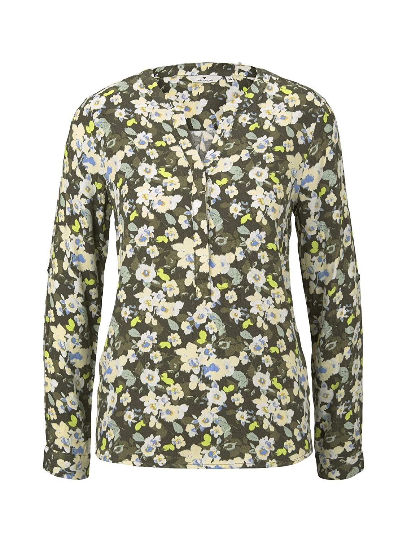 TOM TAILOR dam långärmad blus 23151 - Small Khaki Floral D