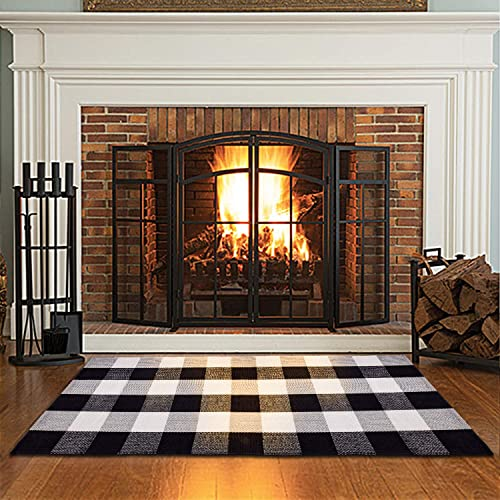 100 Cotton Plaid Rugs Black White Checkered Plaid Rug Hand-Woven Buffalo Checkered Doormat Washable Area Rugs for Porch Kitchen Doorway Laundry Room Bathroom Living Room Farmhouse 23.6 x 51.2