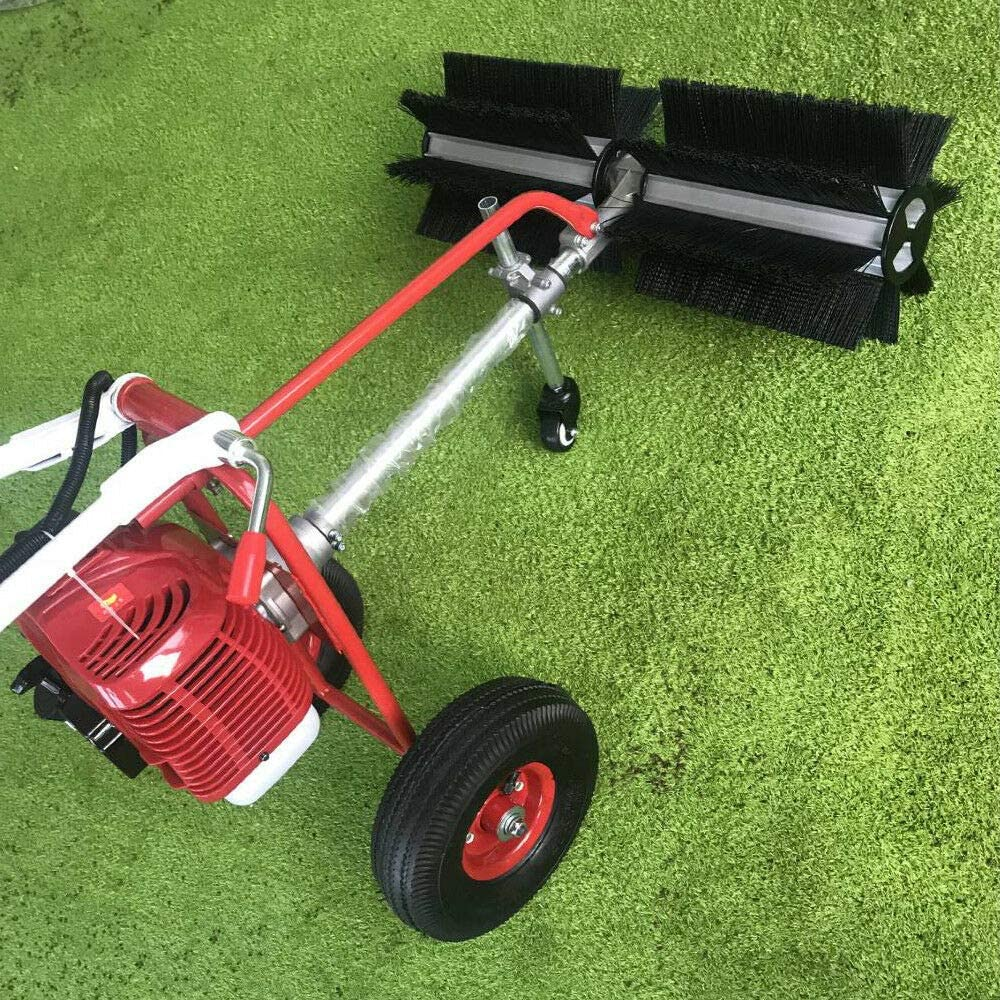 Wangkangyi Push Floor Sweeper 43CC 2Stroke Gas Power Sweeper,1.7HP Mechanical Sweeper,Petrol Powered Sweeper with Air-Cooled Motor for Driveway Turf Cleaning Snow Grit