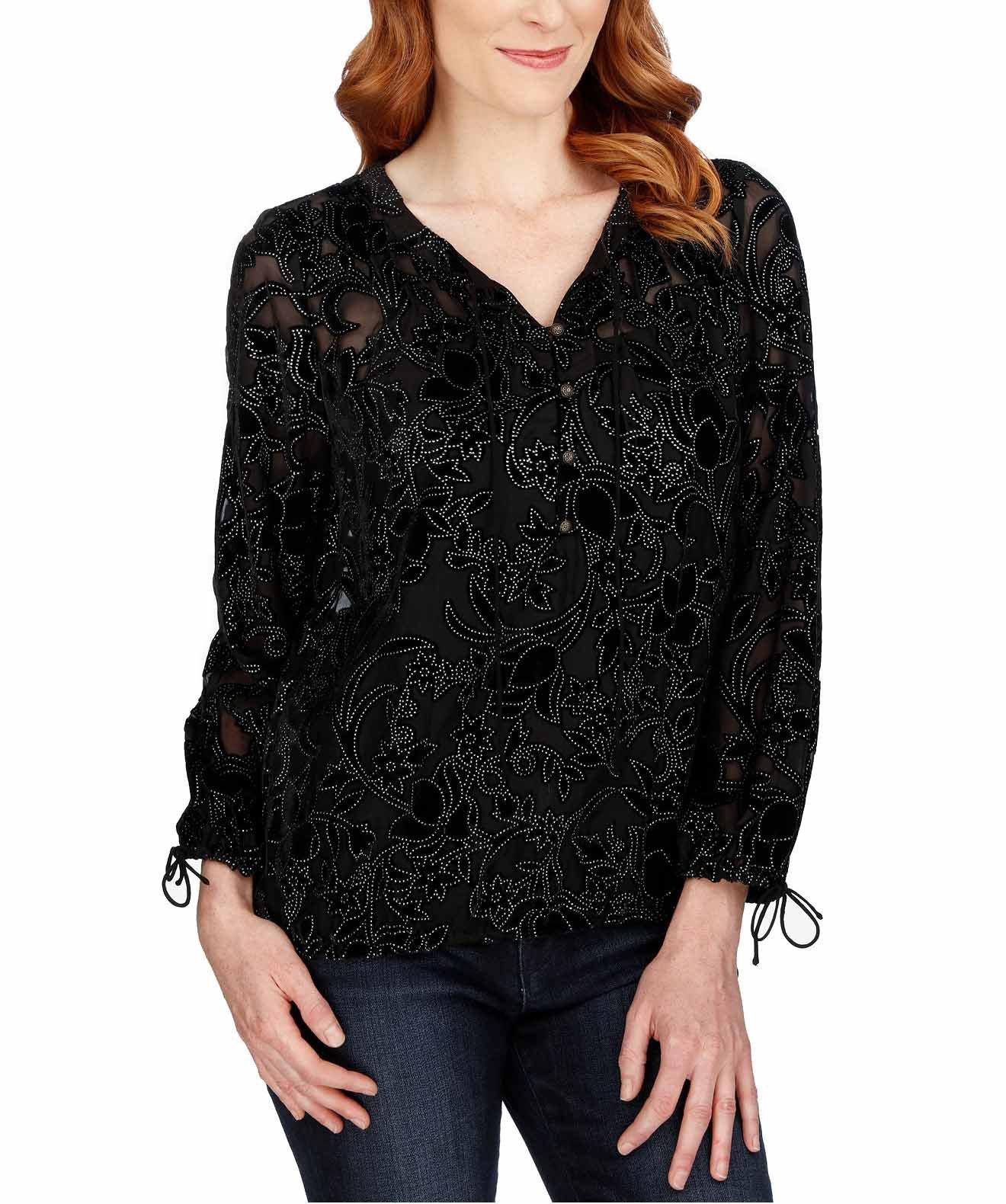 Lucky Brand Women's Velvet Burnout Henley Top (Black, Large)