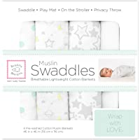 SwaddleDesigns Muslin Swaddle Blanket, Goodnight Starshine (Set of 4 in Sterling)
