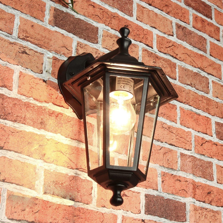 Aplique exterior Aplique exterior Aplique exterior aluminio negro E27 T:22cm cristal iluminación jardín puerta patio balcón