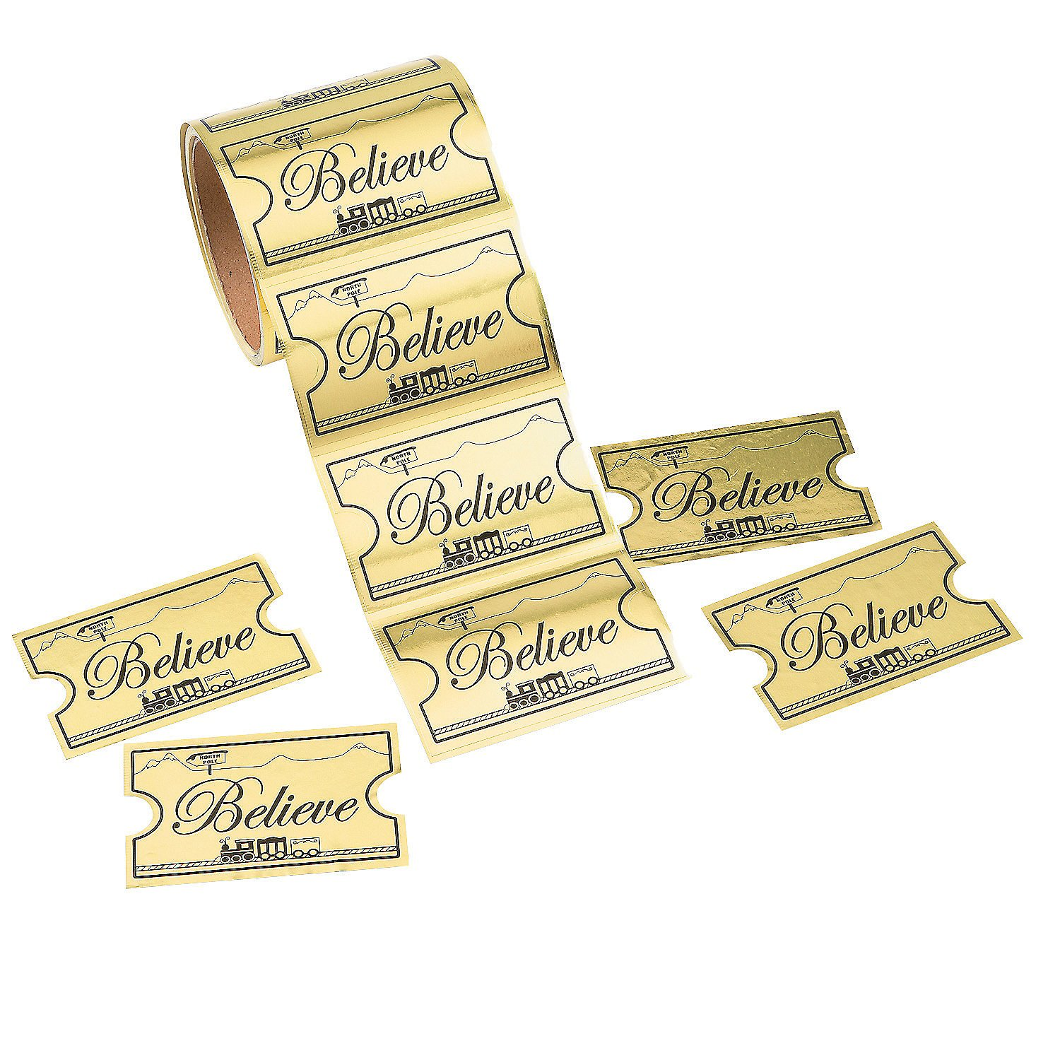 Gold Believe Ticket North Pole Train Stickers 1 Roll