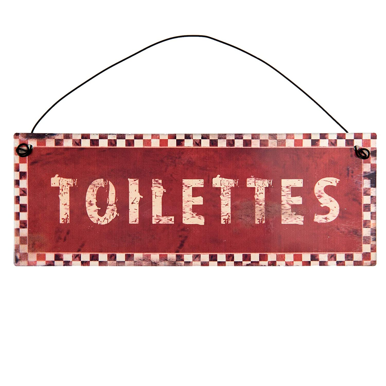 C/&E Toilettes WC Panneau signal/étique en m/étal Rouge avec Inscription Blanche Style r/étro Vintage avec Suspension Dimensions 20 x 7 cm