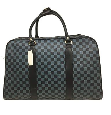 ab22544b33ca LADIES WOMEN DESIGNER TRAVEL WEEKEND BAG BARREL CHECK LUGGAGE BAG NEW  (Blue)  Amazon.co.uk  Shoes   Bags