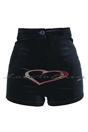 Ladies New Black Velvet / Velour High Waisted Hot Pant Shorts Size ...