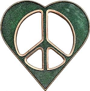 "Small Heart/Peace Sign Wall Decor Art Green Bronze - 6 1/2"" Rustic Hippie Love Plaque"
