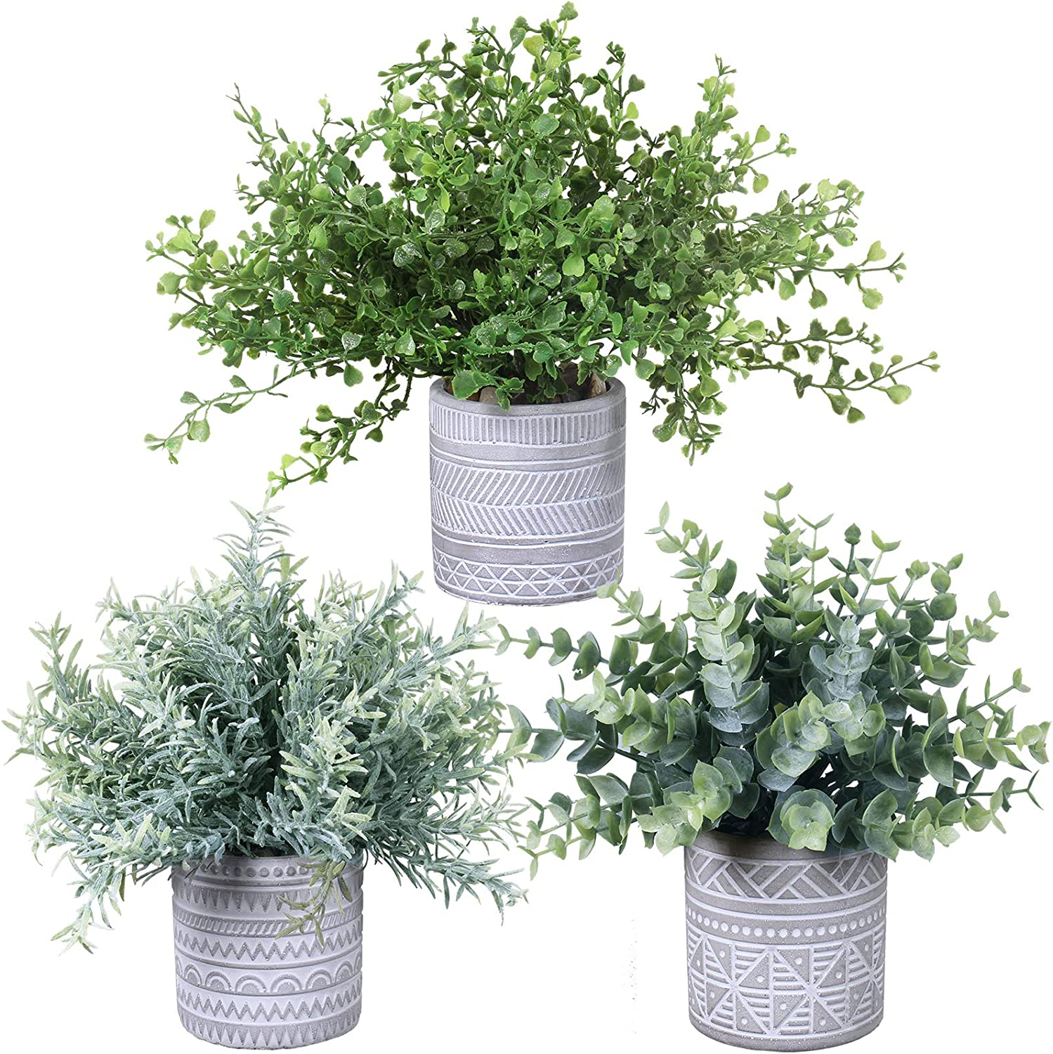 Set of 3 Assorted Fake Small Potted Plants Artificial Eucalyptus Plant Rosemary Plant Boxwood Plant in Pots Greenery Arrangement for Rustic Indoor Centerpiece Tabletop Window Sills Kitchen Shelf Decor