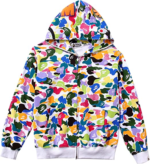 Bape A Bathing Ape Shark Head Camouflage Men/'s Full Zip Hooded Jacket Camo Coat