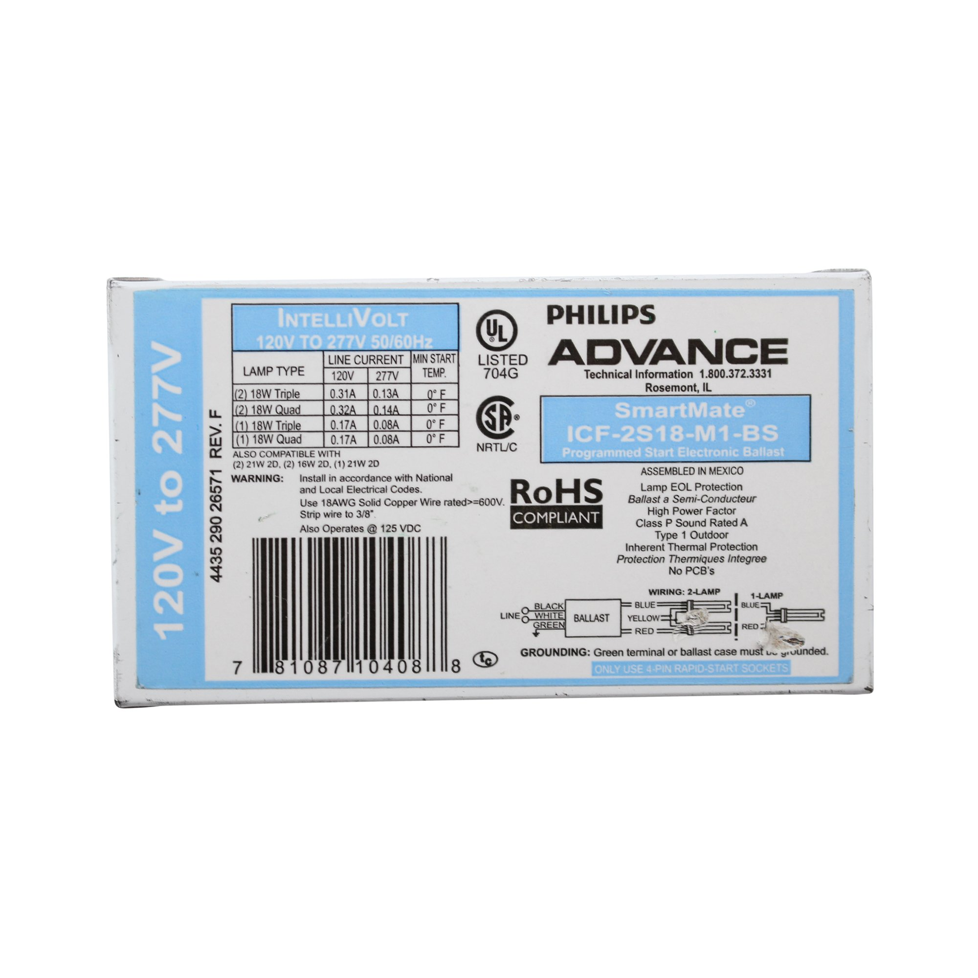 Advance Ballasts ICF-2S18-M1-BS Compact Fluorescent Ballast 120/277V 1-2 Lamp 18W