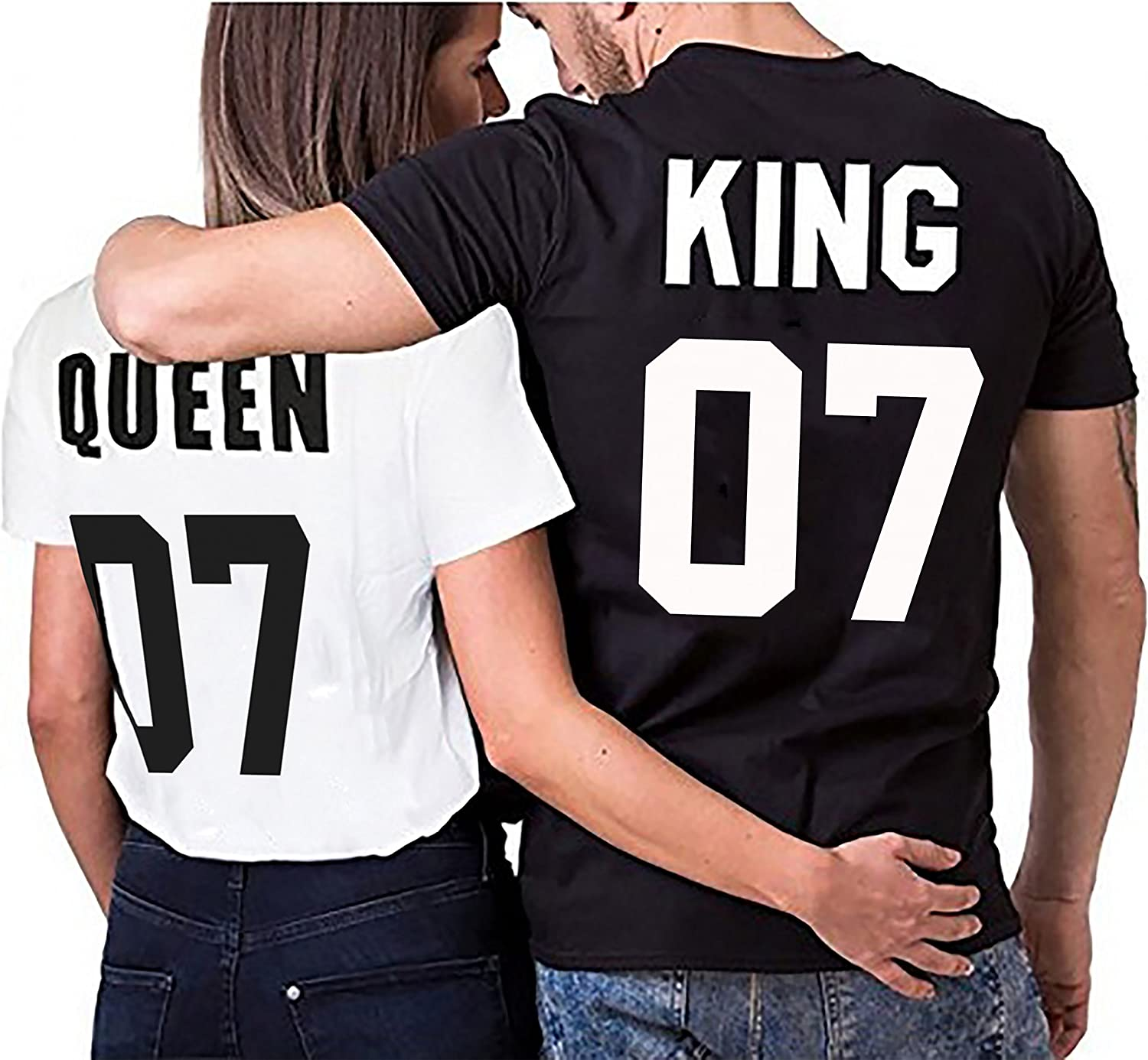 Camiseta par Partnerlook Juego King Queen para Parejas como obsequio S-4XL