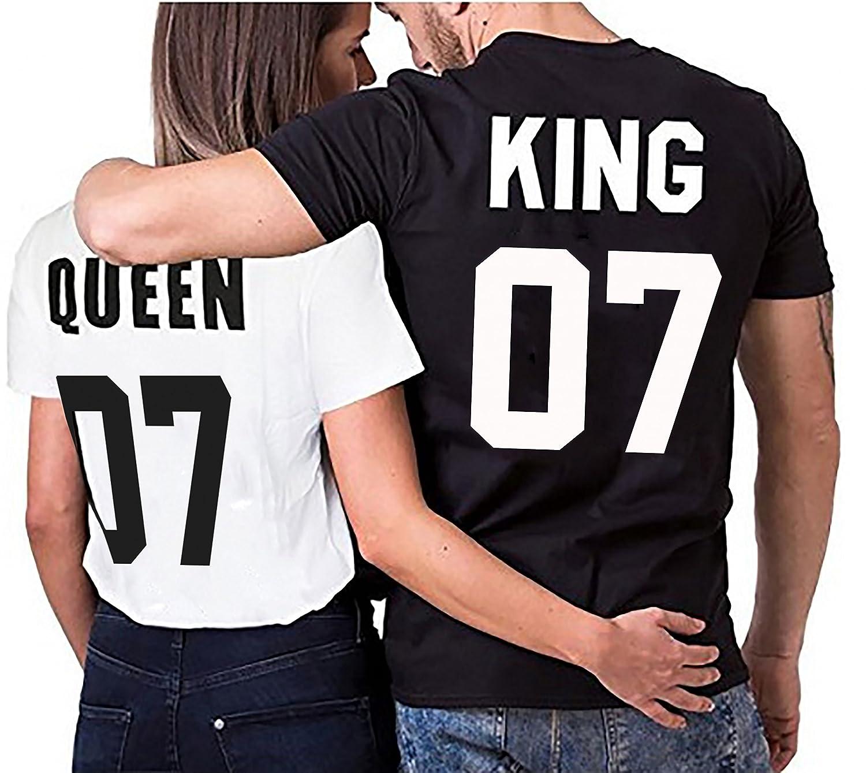 WhyKiki Camiseta Par Partnerlook Juego King Queen Para Parejas Como obsequio EN Diferentes Colores S-4XL: Amazon.es: Ropa y accesorios