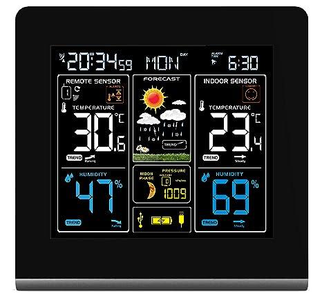 La estación meteorológica inalámbrica de montaje en pared con pantalla de alta definición en color, puerto de carga USB, alarmas, pronóstico del clima ...