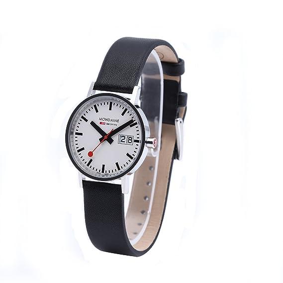 Mondaine A669.30008.11SBO - Reloj de caballero de cuarzo, correa de piel color negro: Amazon.es: Relojes