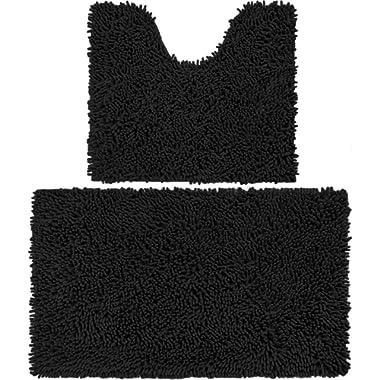 Vdomus Microfiber Bathroom Contour Rugs Combo, Set of 2 Soft Shaggy Non Slip Bath Shower Mat and U-Shaped Toilet Floor Rug (Black)