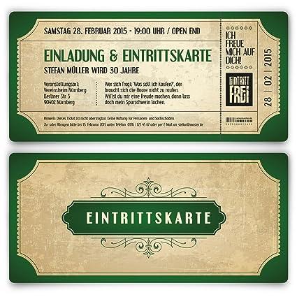 Vintage Ticket Tarjeta De Invitación De Cumpleaños
