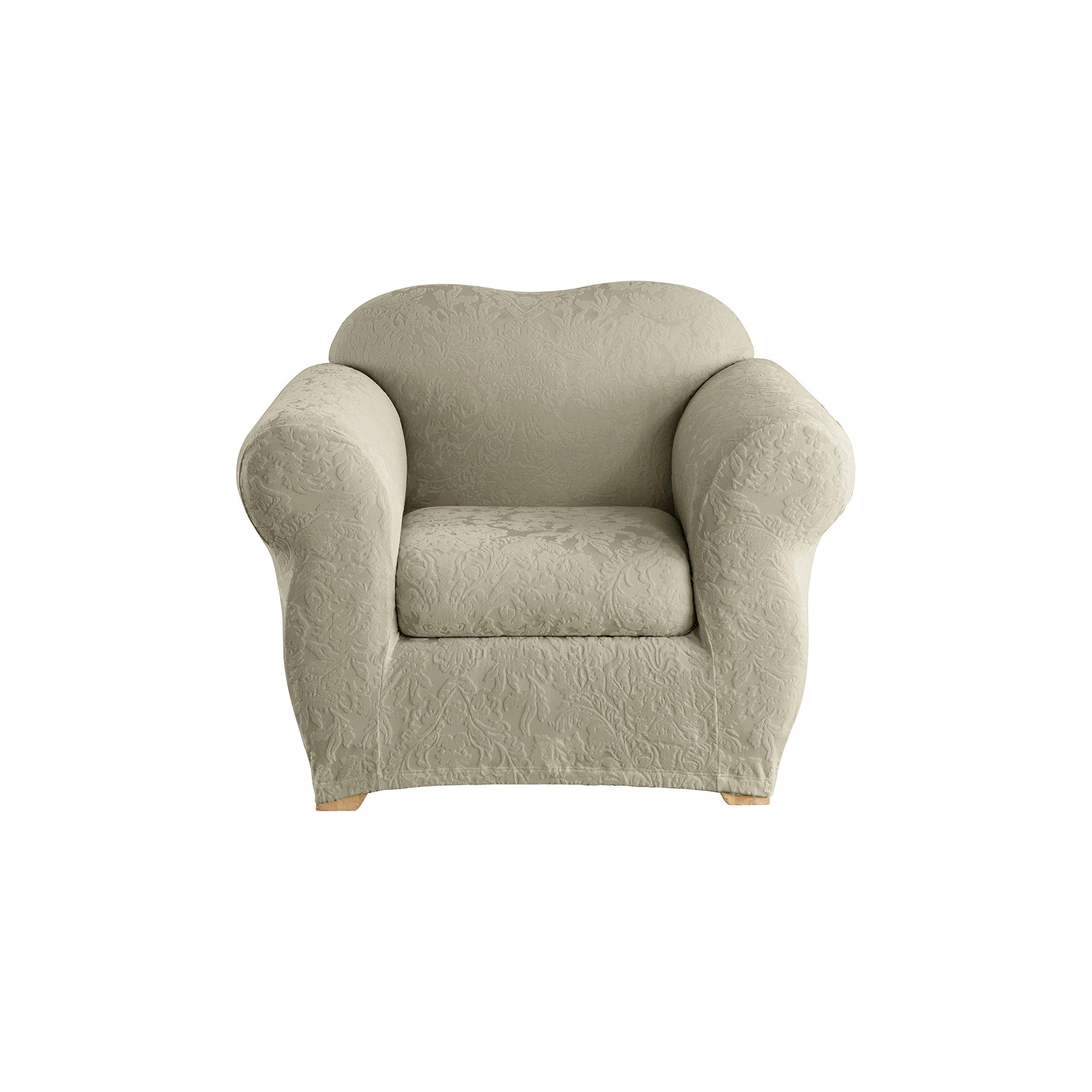 Sure Fit Stretch  Jacquard Damask 2-Piece - Chair Slipcover  - Sage (SF40164) by Surefit