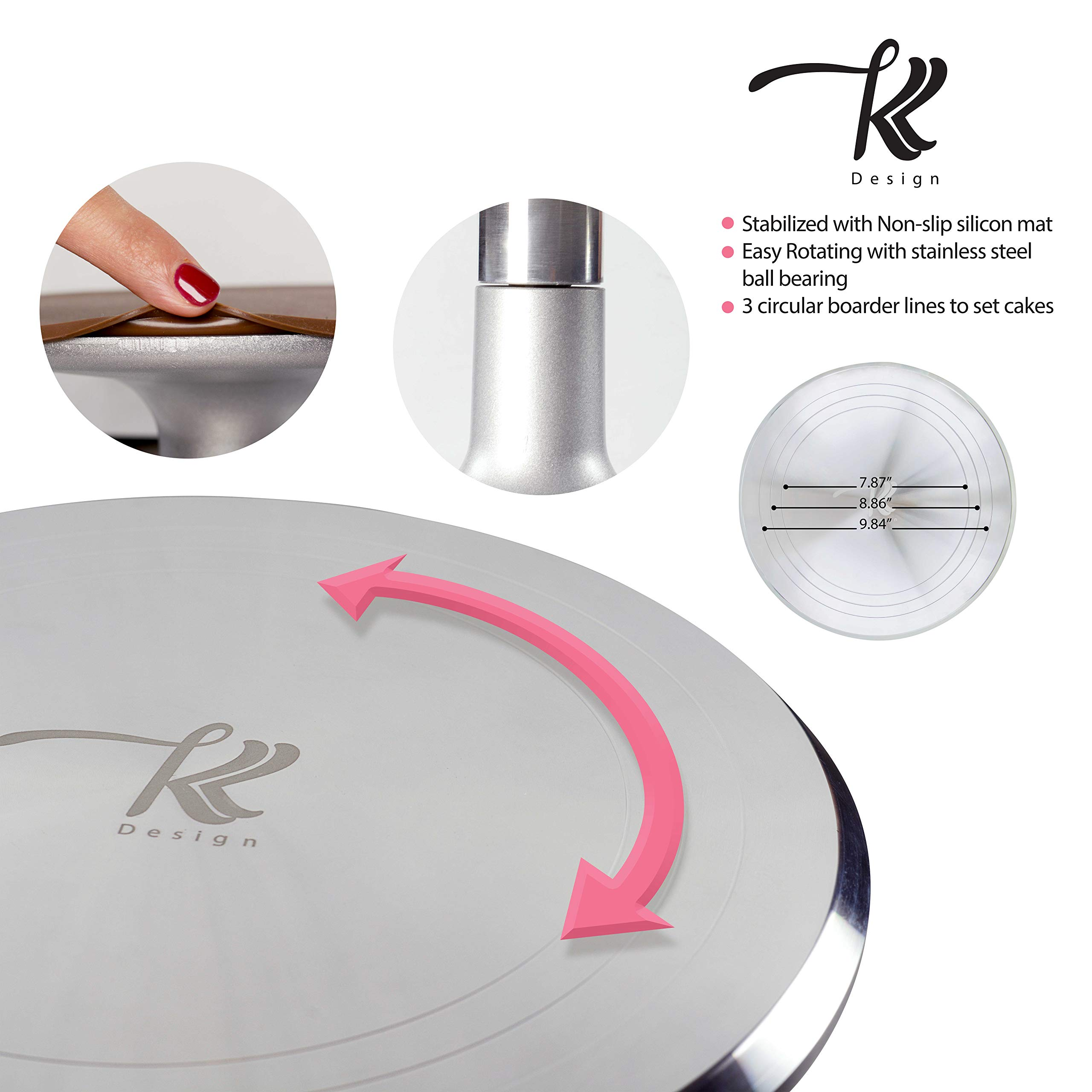 186 Pcs Cake Decorating Supplies Kit,Aluminium Rotating Turntable Stand,Frosting Piping Tips,100 Disposable Bags,Couplers,Scrapers,Spatulas,Cutter,Smoother,Flower Nails,Lifter,Baking Tools Set by K&K Design (Image #4)