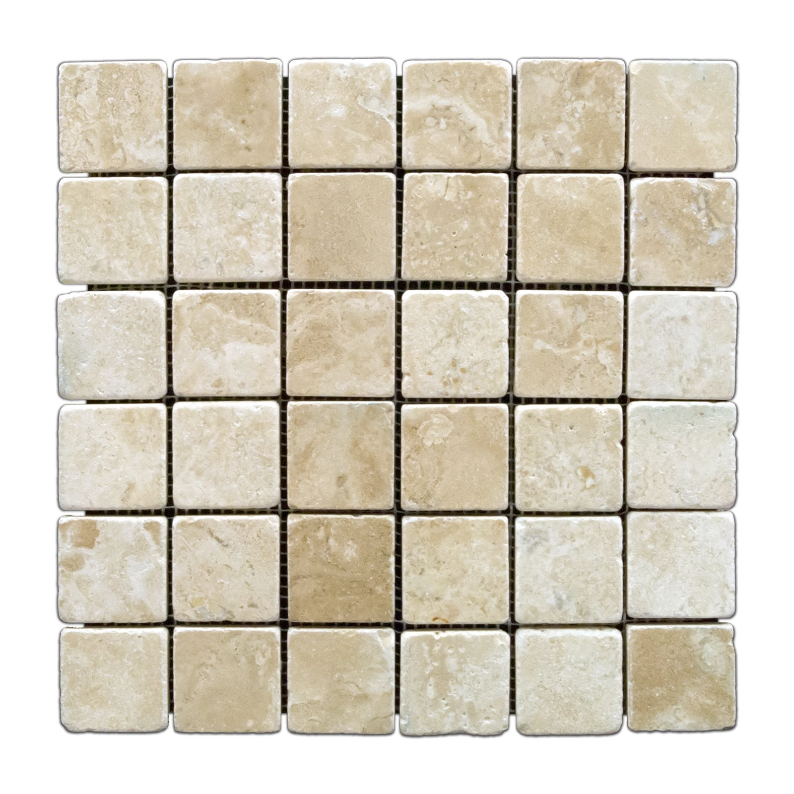 Durango Cream 2 X 2 Tumbled Travertine Mosaic Tile - Box of 5 sq. ft. by Oracle Tile & Stone
