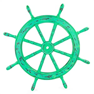 Nautical Handcrafted Wooden Ship Wheel - Home Wall Decor - Nagina International (24 Inches, Antique Green)
