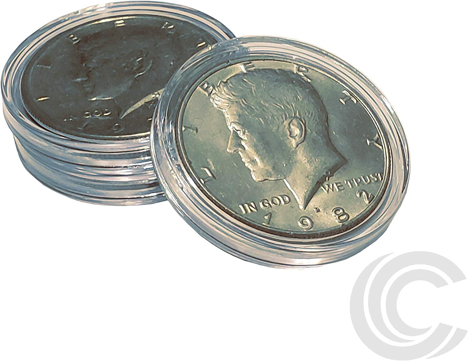 50 coin holders 30.6mm direct fit coin capsules for JFK HALF DOLLAR