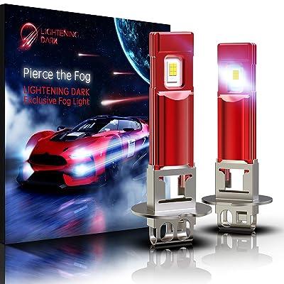 LIGHTENING DARK H3 LED Fog Light Bulb/DRL, 5530 Chips 800 Lumens 6000K Cool White (Contains 2 Bulbs): Automotive
