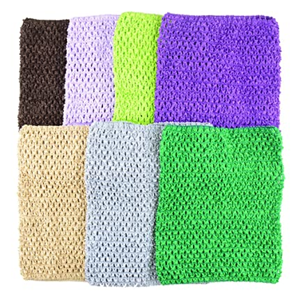 77af9845fc Amazon.com  BERON Pack of 7 9 Inch Handmade Baby Girl Silk Crochet Tutu  Tube Top Chest Wrap for Toddler Infants(AID04-C)  Arts