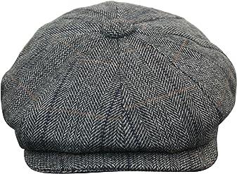 King Ice Mens Tweed Newsboy Cap Peaky Blinders Baker Boy Flat Check Grandad  Hat ht6093- c832e9647b8d