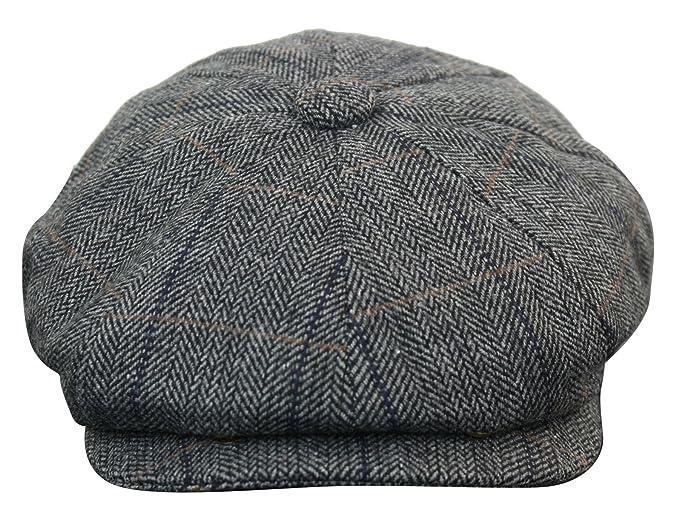 34ab413ad0966 King Ice Mens Tweed Newsboy Cap Peaky Blinders Baker Boy Flat Check Grandad  Hat ht5302-