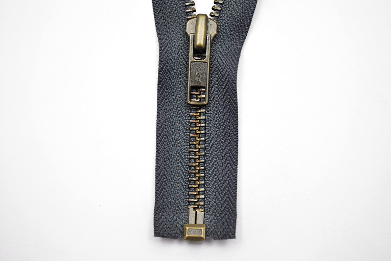 YKK zip 1Vie divisibile Grigio 90cm metallo metallo denti
