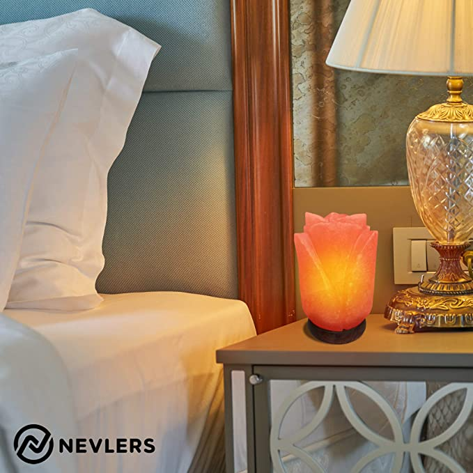 Nevlers Natural Handcrafted Himalayan Salt Lamp Beautiful Wooden Base Bulb and Dimmer Cord Included Unique Flower Shape Design Great /& Decorative Enhancement to Any Room