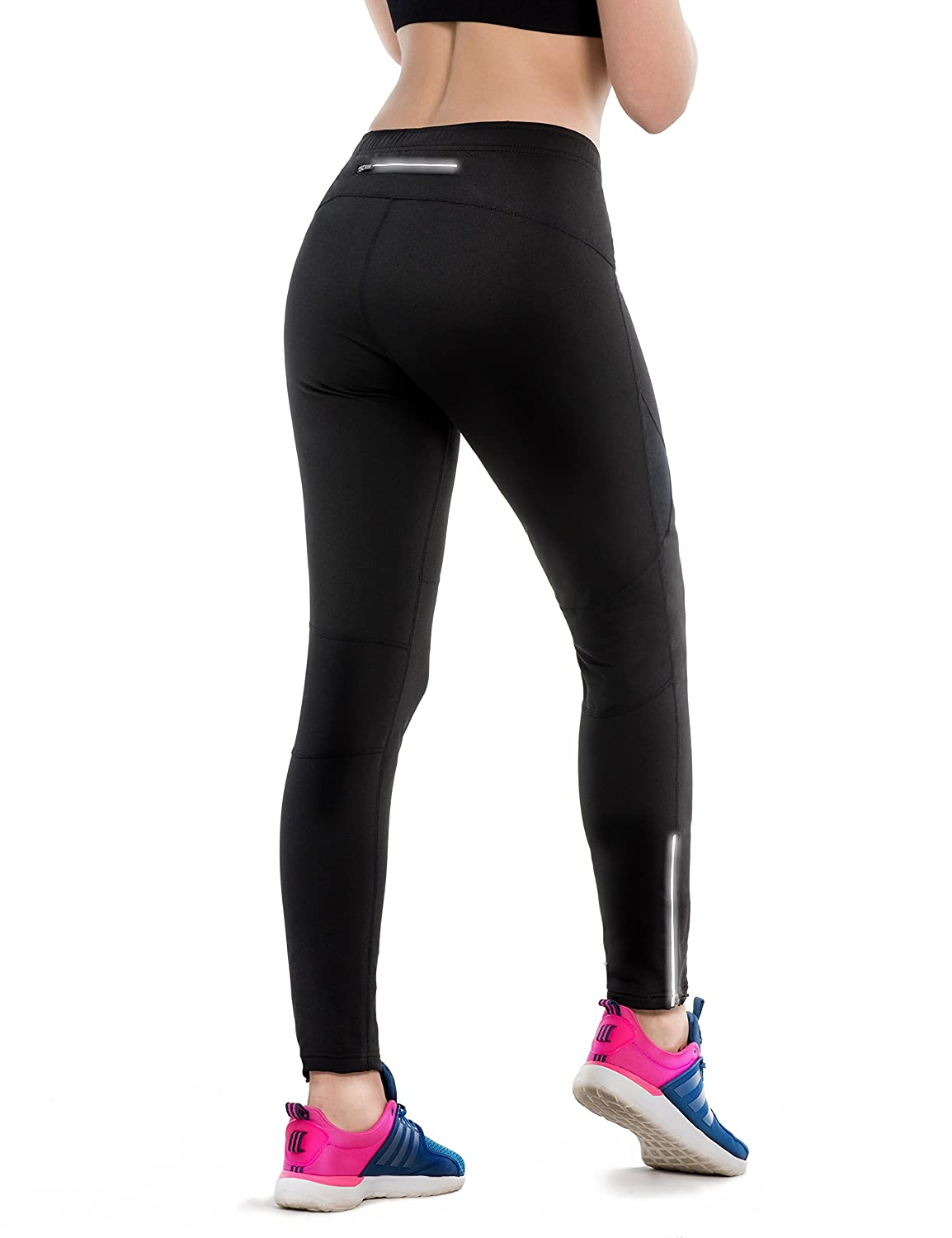 Safort Woman Windproof Cycling Jogging Pants for Spring/Autumn, Not Padded, Thermal, Fleece Lined, Zip Pocket, Black M SQX1710082