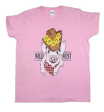 2262942d Next Fling Pig Cowboy Hat Wild West Bandana T-Shirt Women Cute Funny  Sunflower Country