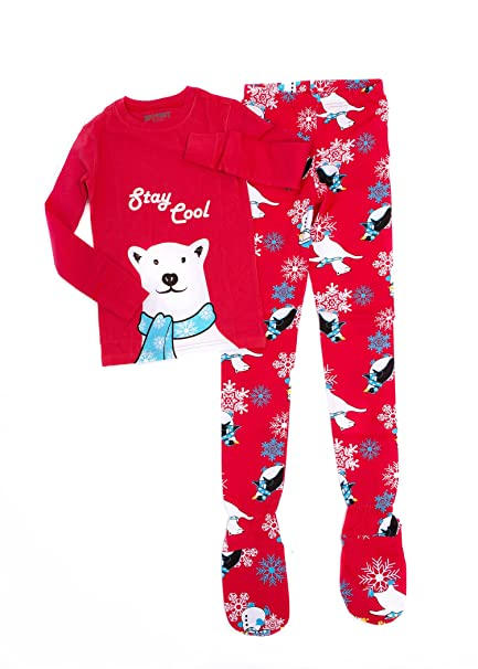 Big Feet Pijamas 2 Piezas Pijamas Footed Estancia Fresca Oso Polar (3-4) Rojo: Amazon.es: Ropa y accesorios