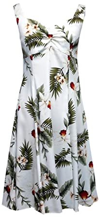 7b37c840dc40 Two Palms Womens Hawaiian Orchid Empire Princess Flare Sundress White XS