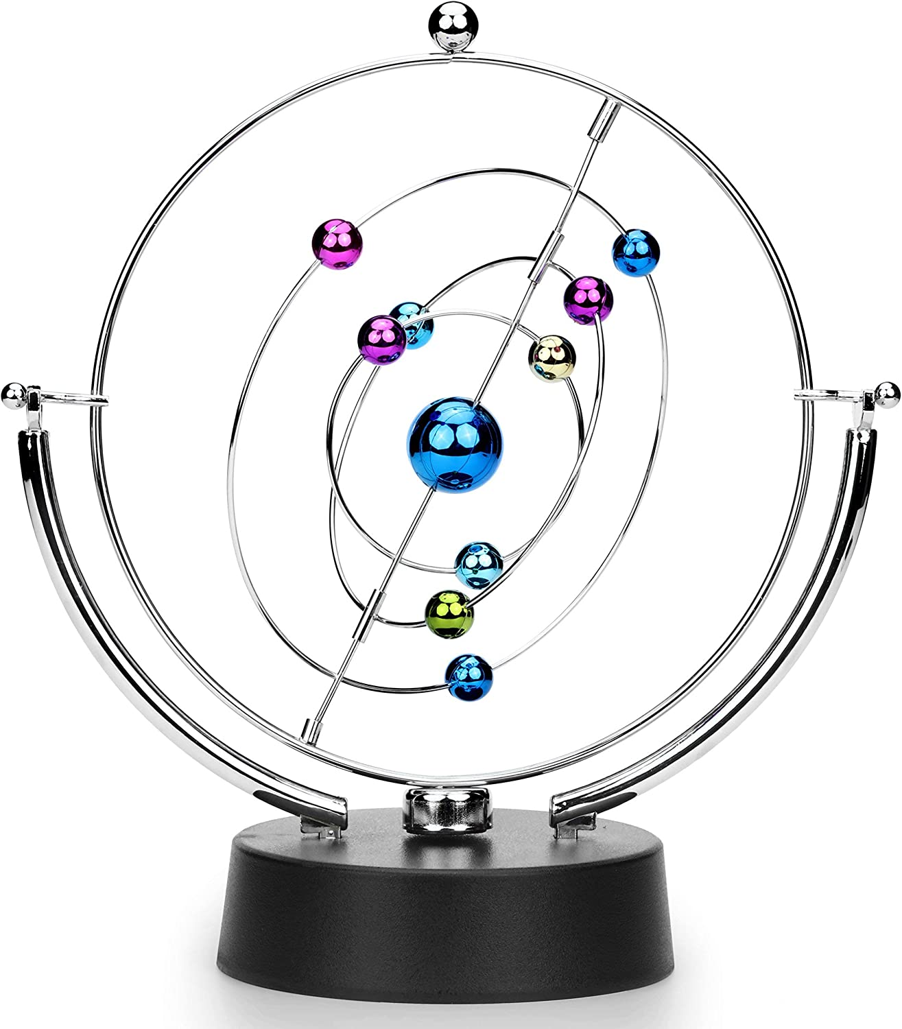 SciencePurchase Kinetic Perpetual Motion Galaxy, Outer Space Gadget That Flips and Rotates in Continuous Motion, Battery Operated Desktop Toy