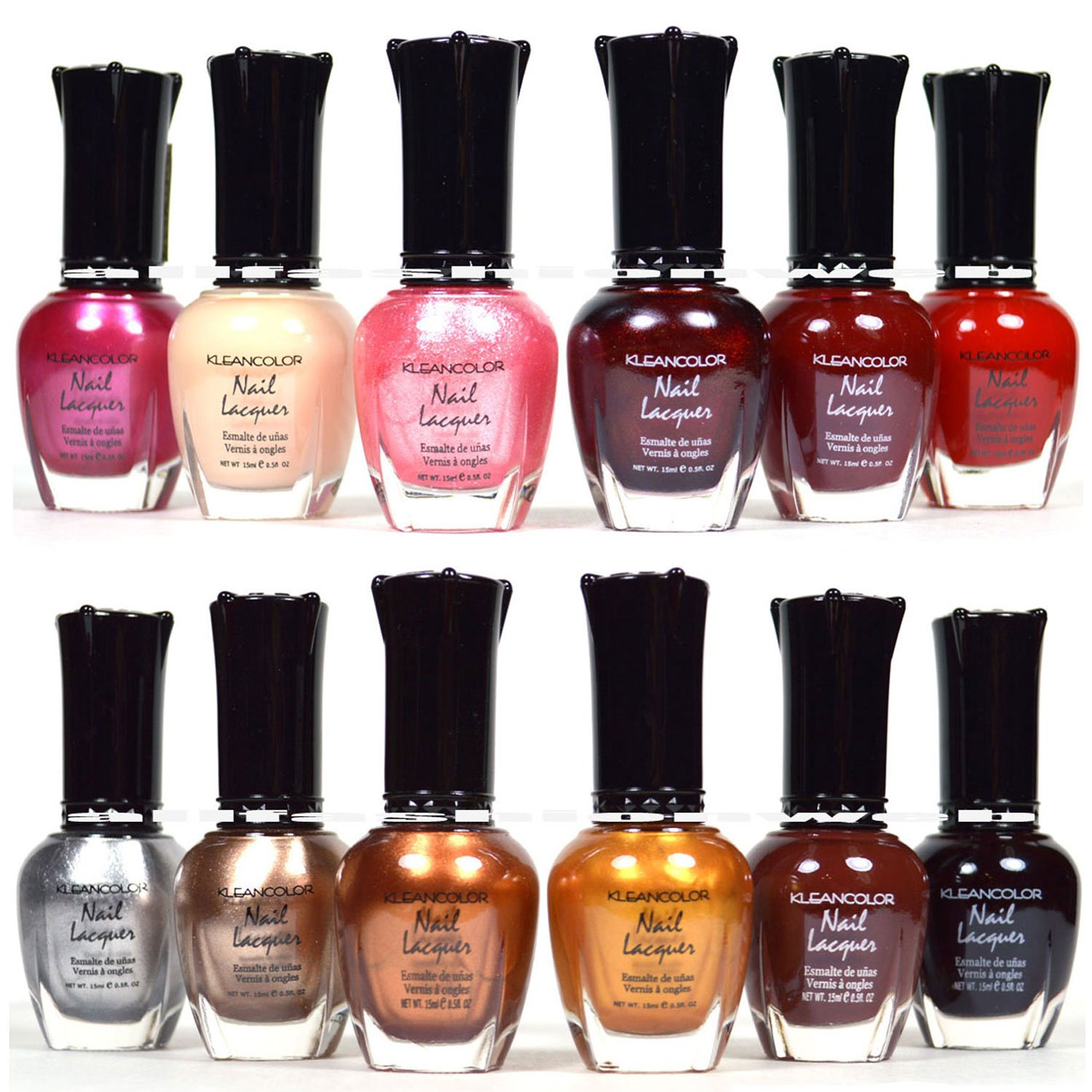 Buy 12 Pcs Kleancolor Nail Polish Red Pink Brown Gold Lacquer ...