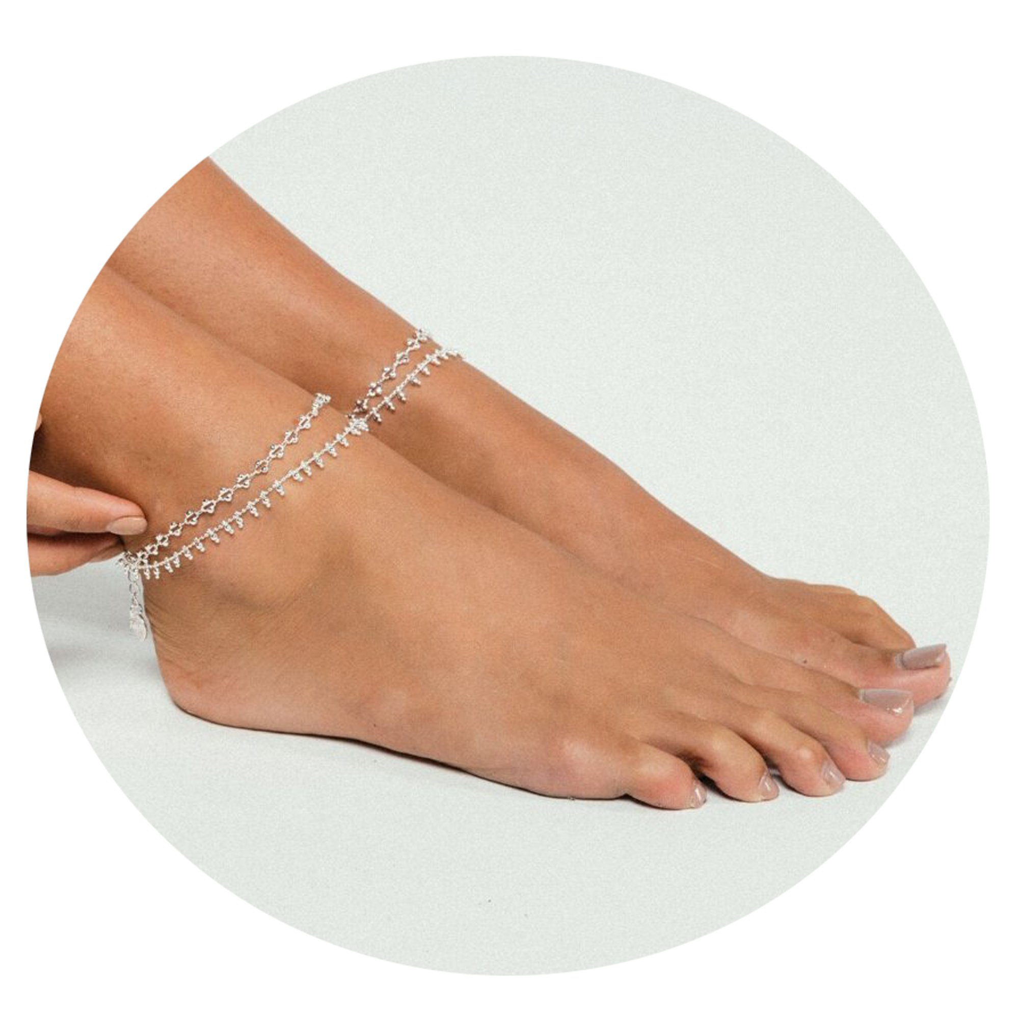Befettly Women Gold Anklet Delicate Handmade 14k Gold Plated Double Layered Beads Boho Cute Summer Ankle Bracelet Dainty Tassels Beach Foot Chain Ank-layer Bead-SL
