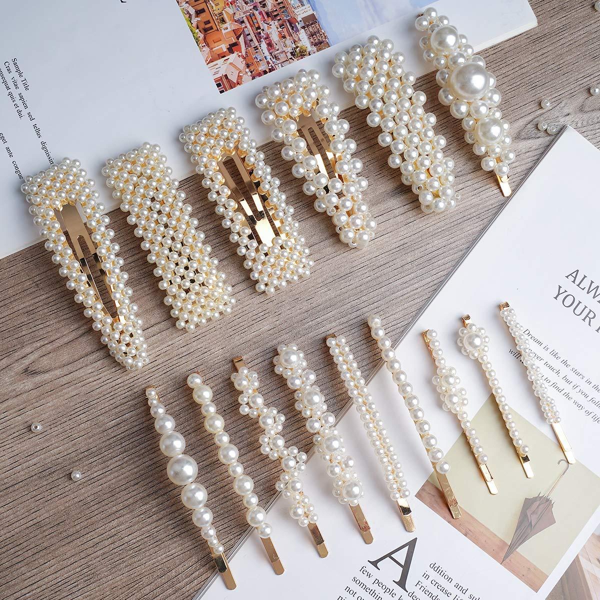 1//5Pcs Gold Bridal Wedding Crystal Pearls Hair Pins Headwear Hair Accessories