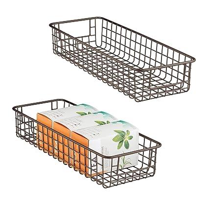 MDesign Household Wire Drawer Organizer Tray, Storage Organizer Bin Basket  Built In Handles Kitchen